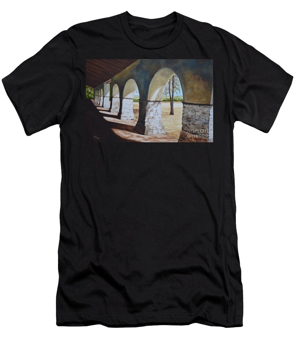California Landmark Men's T-Shirt (Athletic Fit) featuring the painting San Juan Bautista Mission by Mary Rogers