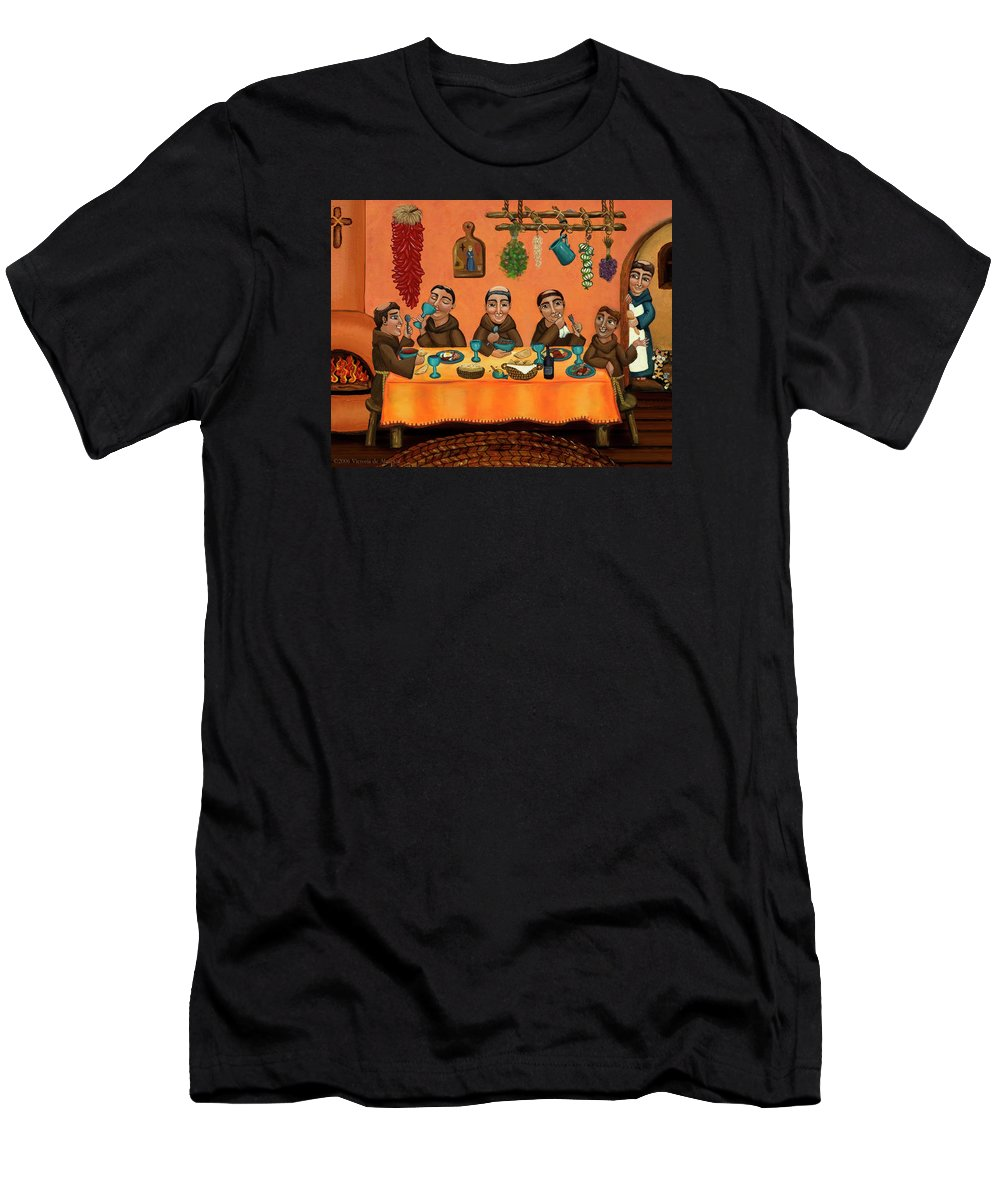 Hispanic Art Men's T-Shirt (Athletic Fit) featuring the painting San Pascuals Table by Victoria De Almeida
