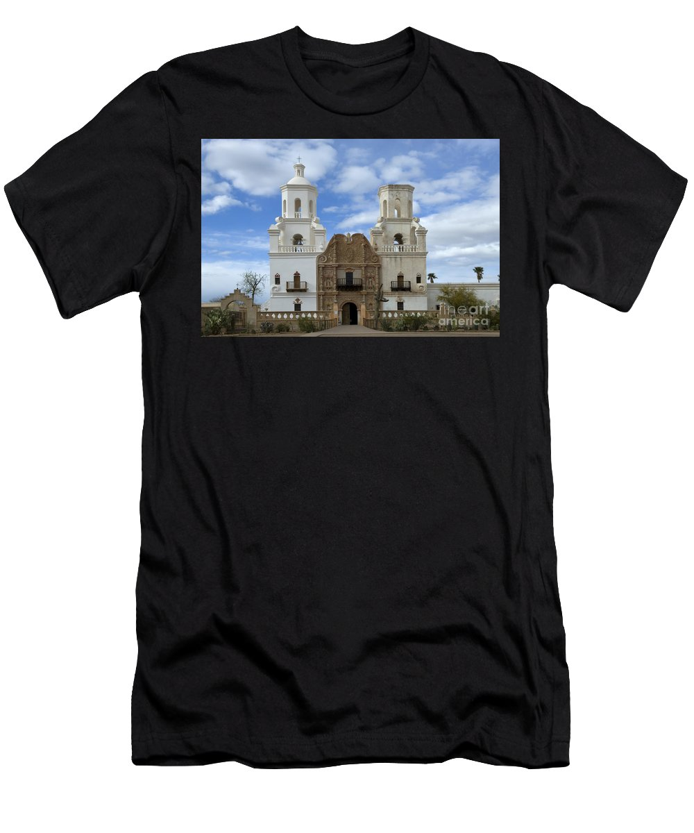 San Xavier Del Bac Mission Men's T-Shirt (Athletic Fit) featuring the photograph San Xavier Del Bac Mission Facade by Bob Christopher