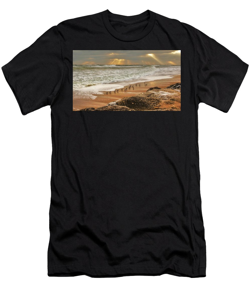 Beach Photographs Men's T-Shirt (Athletic Fit) featuring the photograph Sandpiper Sunrise by Danny Mongosa
