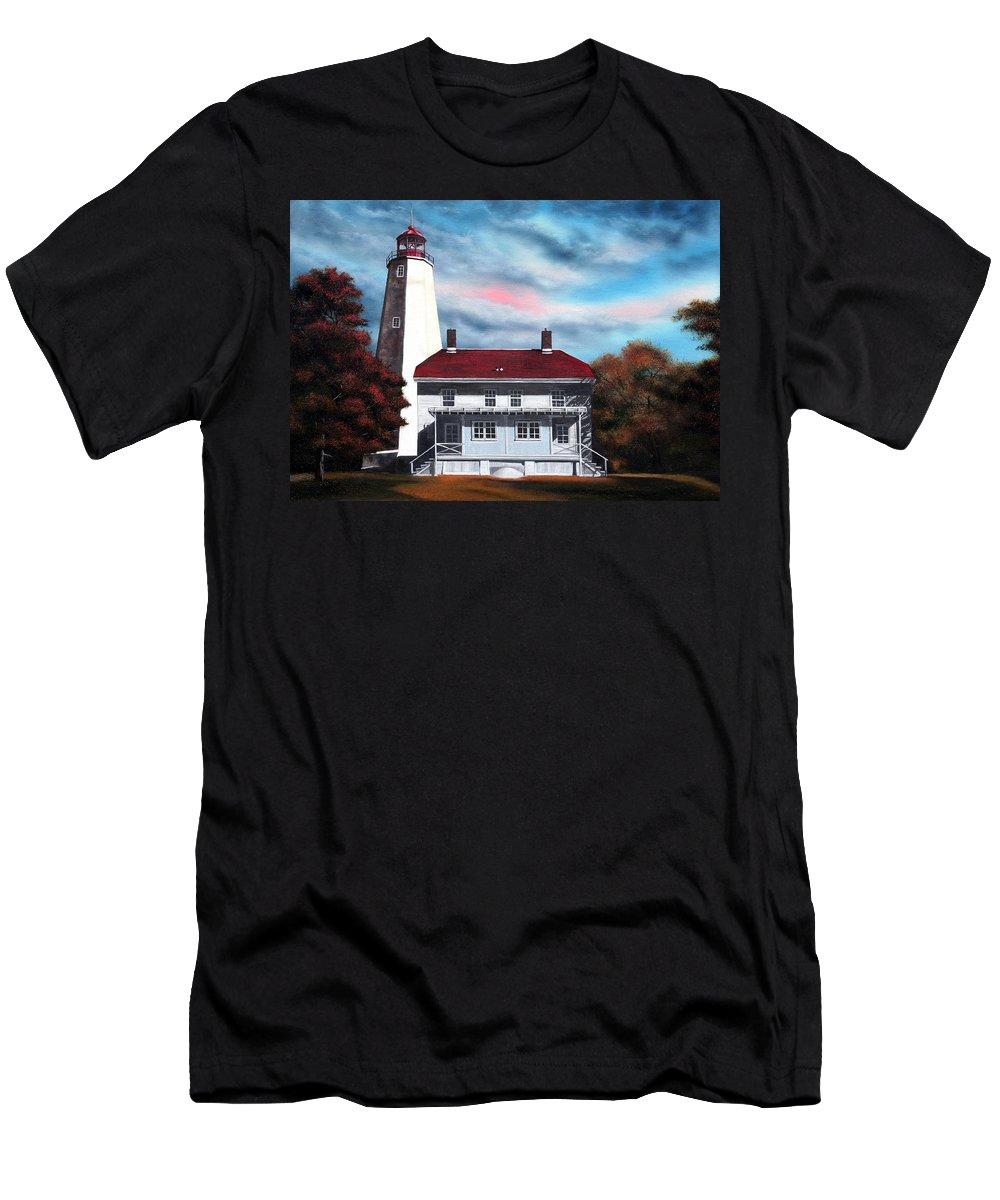 Lighthouse Men's T-Shirt (Athletic Fit) featuring the painting Sandy Hook Lighthouse by Daniel Carvalho