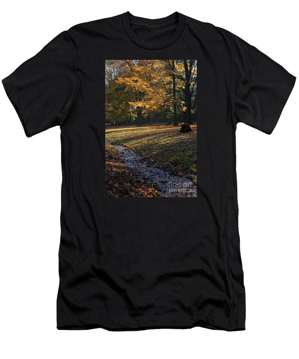 Landscape Men's T-Shirt (Athletic Fit) featuring the photograph Sanilac Park by Kathy DesJardins