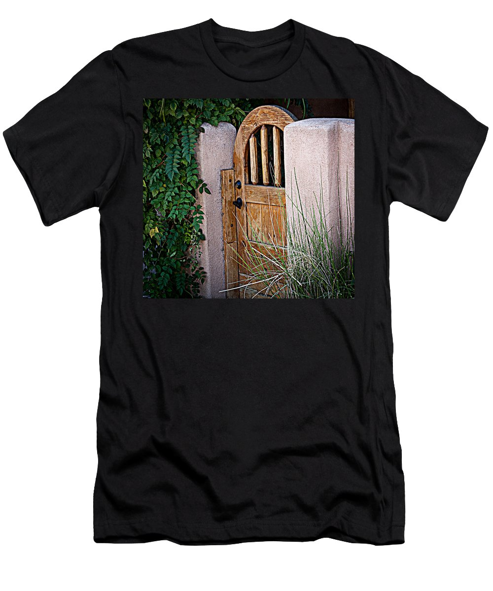 Gate Men's T-Shirt (Athletic Fit) featuring the photograph Santa Fe Gate by Patrice Zinck