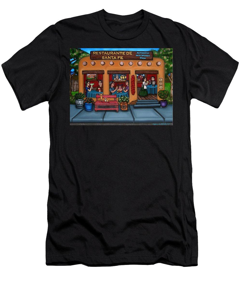 Folk Art Men's T-Shirt (Athletic Fit) featuring the painting Santa Fe Restaurant by Victoria De Almeida