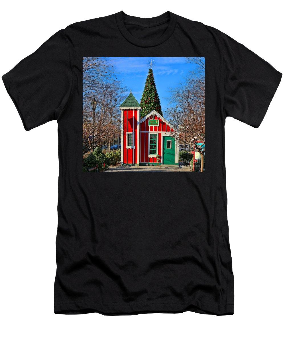 Santa's Workshop Men's T-Shirt (Athletic Fit) featuring the photograph Santas Workshop by Jack Schultz