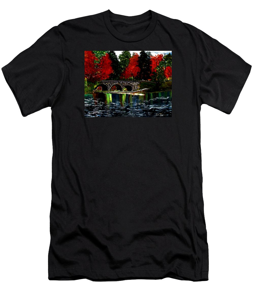 Mountains Men's T-Shirt (Athletic Fit) featuring the painting Sapphire In Color by Lil Taylor