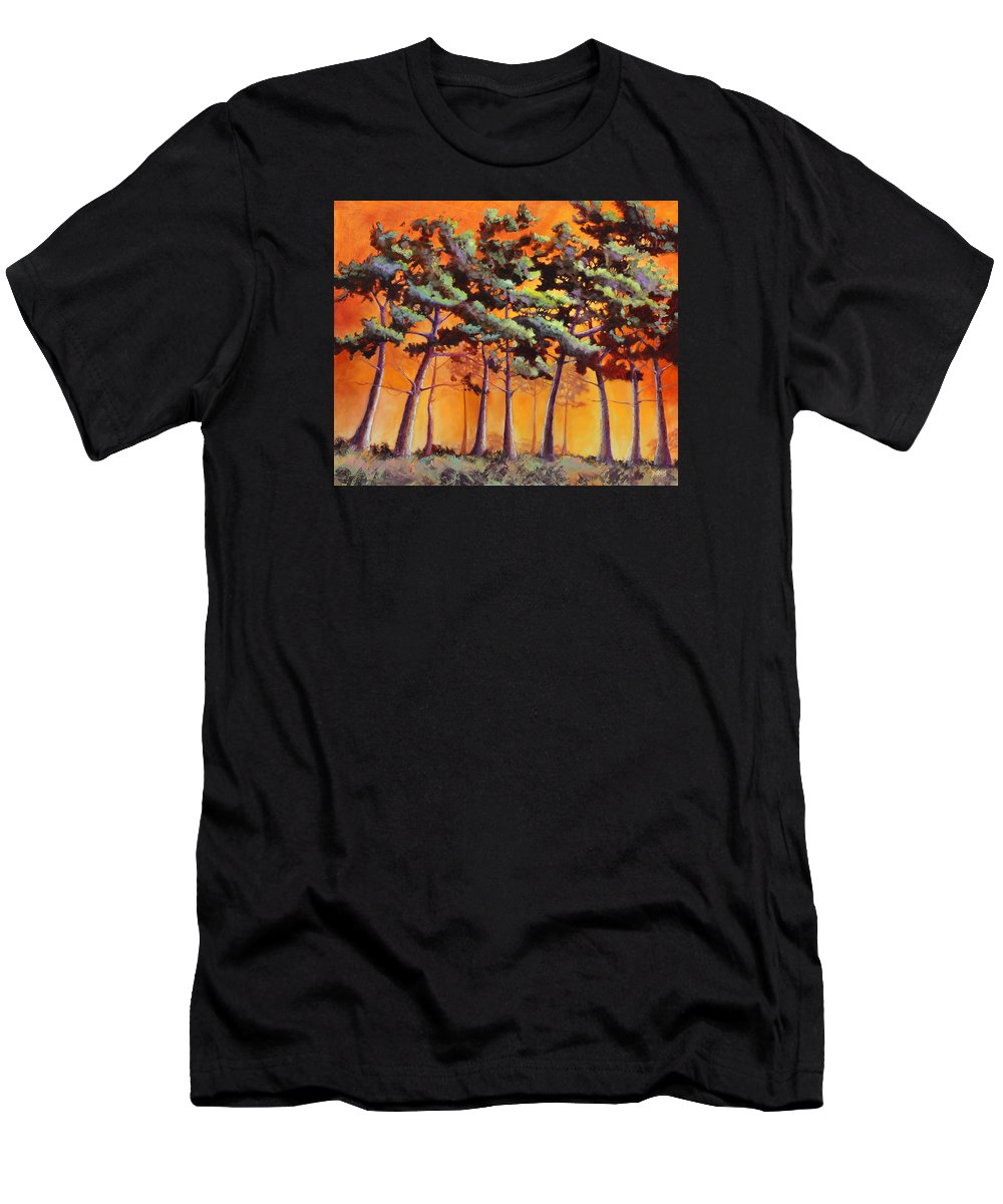 Landscape Men's T-Shirt (Athletic Fit) featuring the painting Sardis Pines by Sue Darius