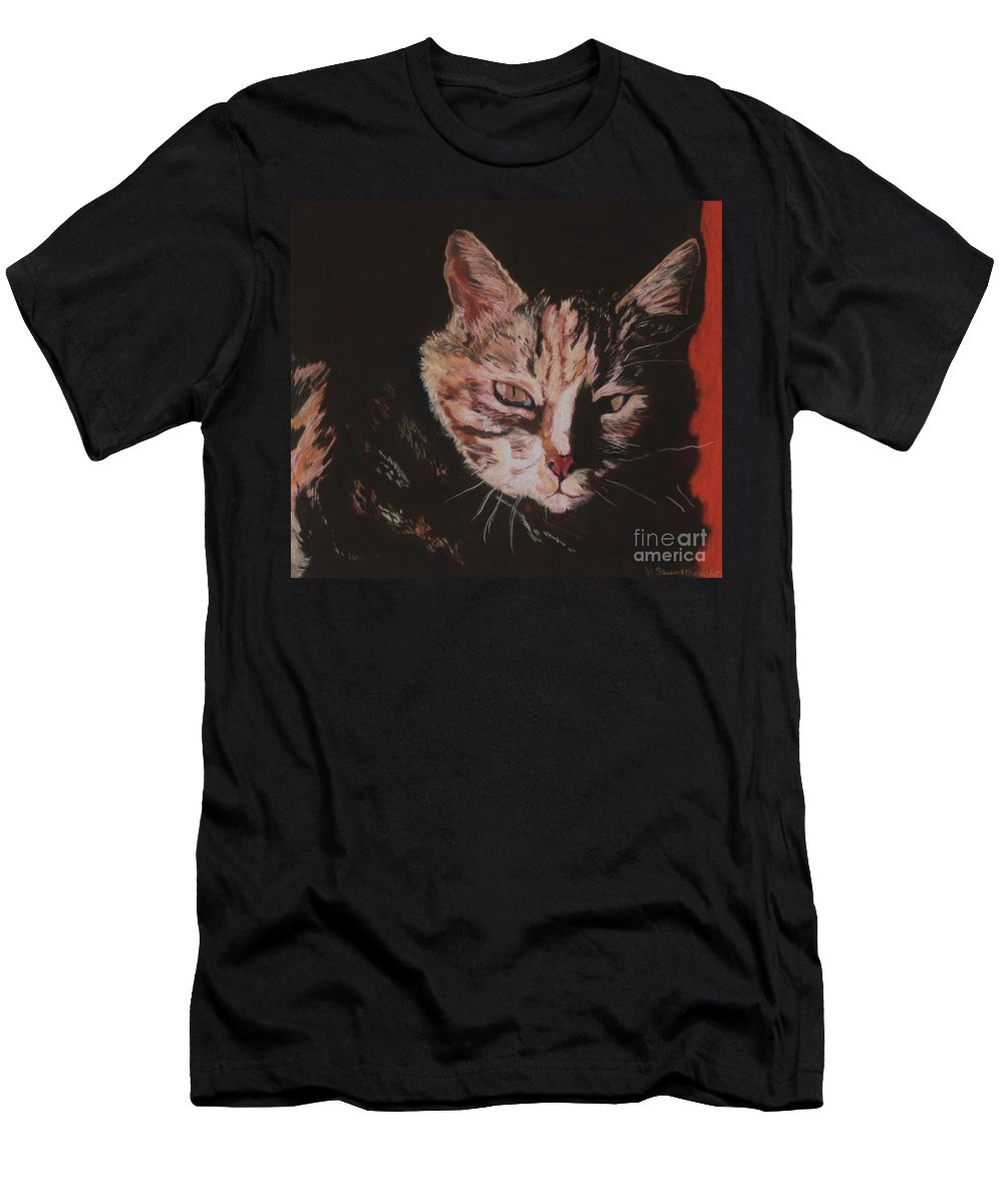 Pat Saunders-white Pet Portraits Men's T-Shirt (Athletic Fit) featuring the painting Sasha by Pat Saunders-White