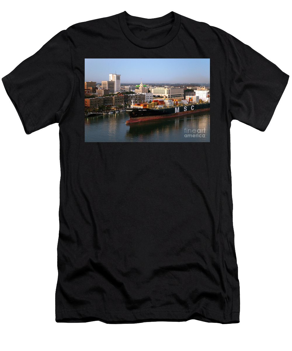 Cargo Men's T-Shirt (Athletic Fit) featuring the photograph Savannah Harbor by Bill Cobb
