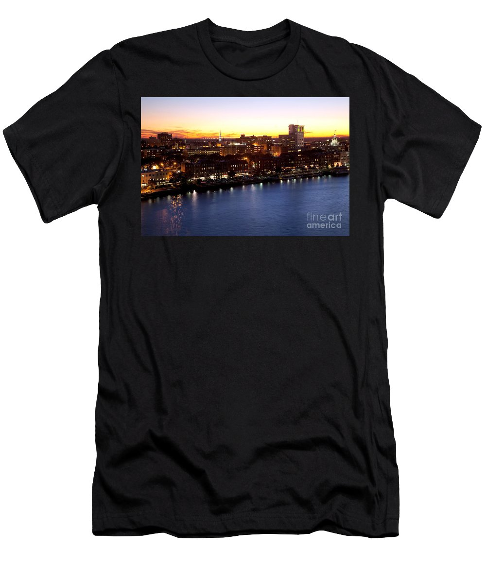 City Men's T-Shirt (Athletic Fit) featuring the photograph Savannah Skyline At Dusk by Bill Cobb