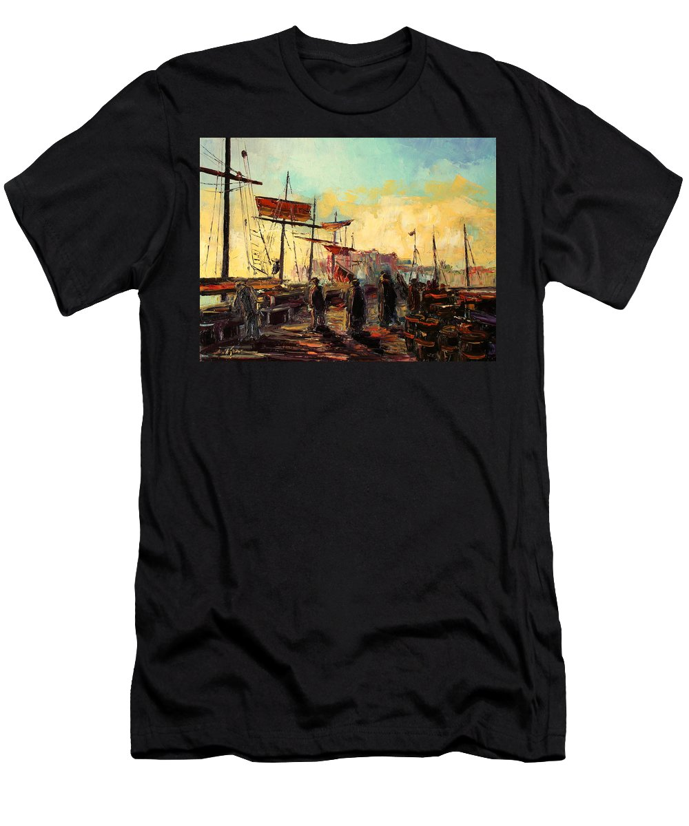 Harbour Men's T-Shirt (Athletic Fit) featuring the painting Scarborough Harbour Loading by Luke Karcz