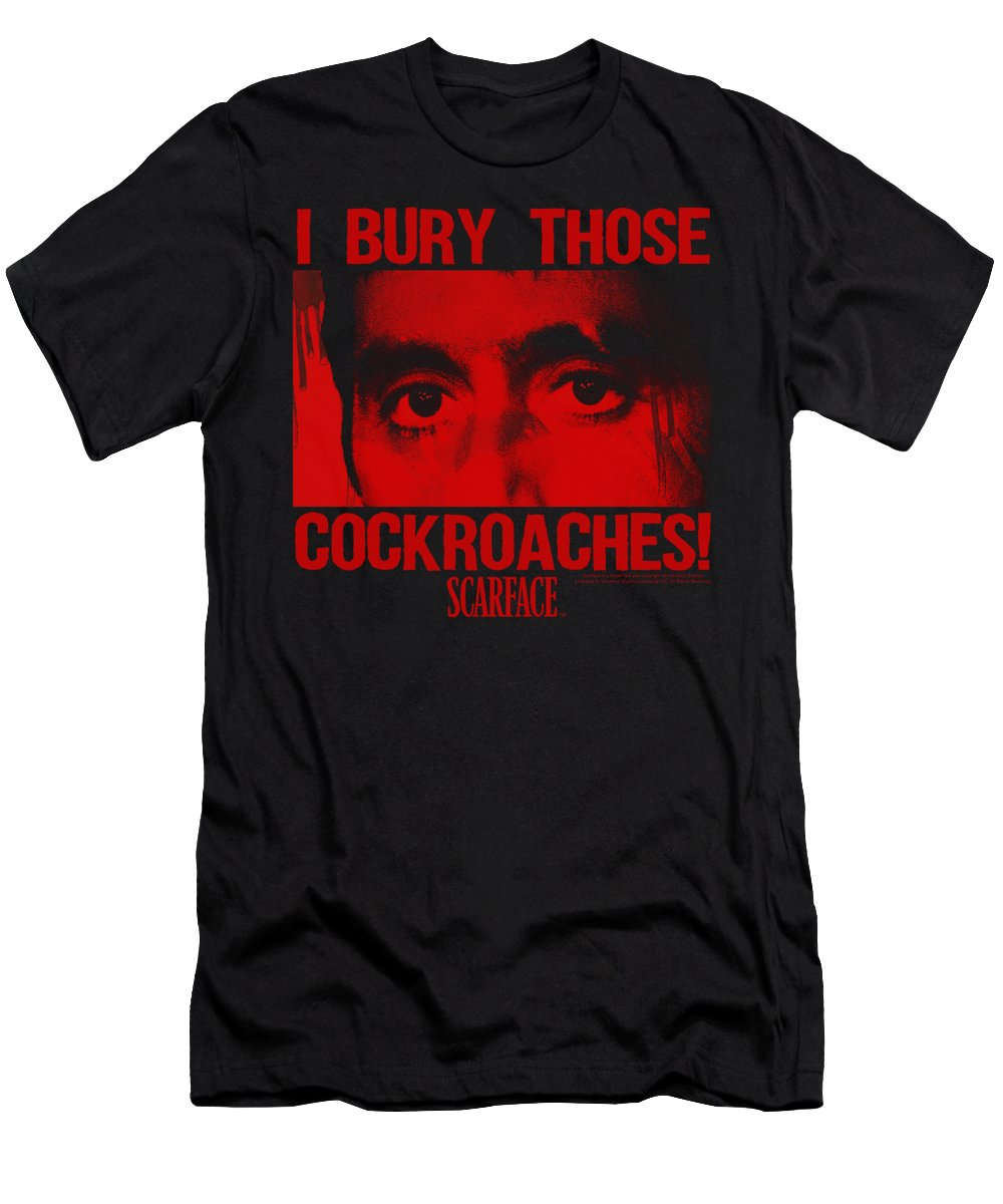 Scareface T-Shirt featuring the digital art Scarface - Cockroaches by Brand A