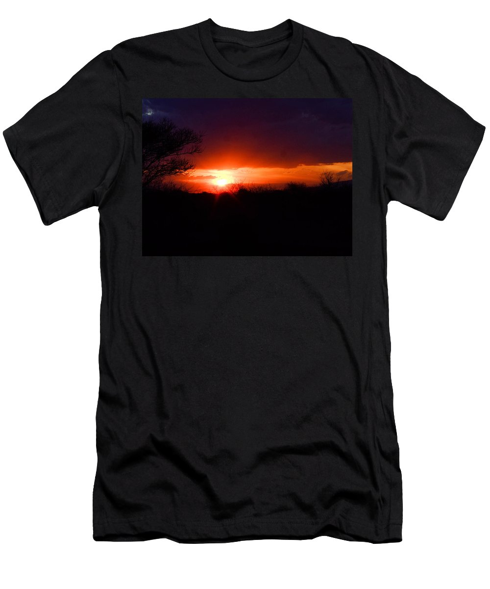 African Sunset Men's T-Shirt (Athletic Fit) featuring the photograph Scarlet Sky by Tracey Beer