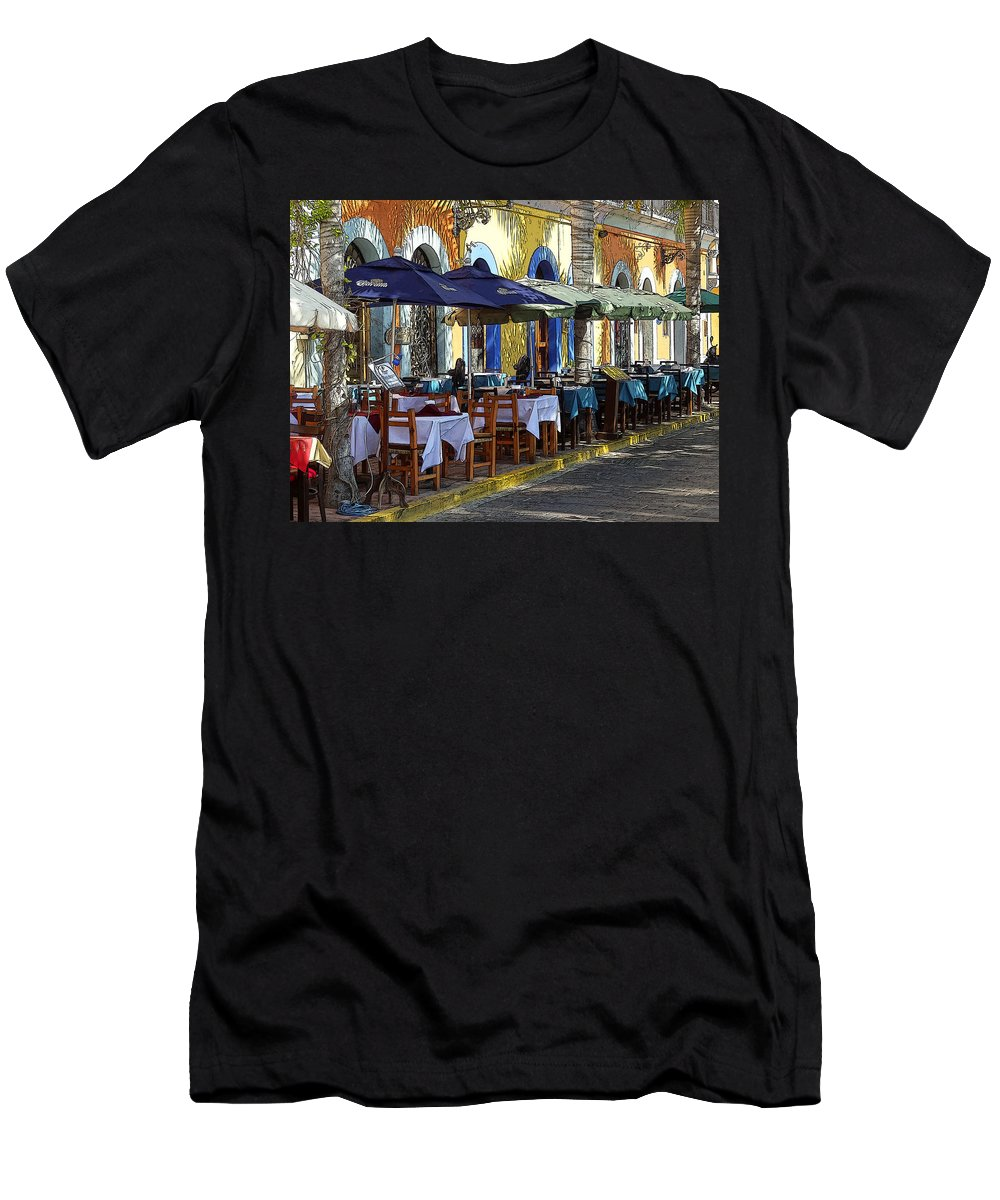 Mazatlan Men's T-Shirt (Athletic Fit) featuring the photograph Scenes From Plaza Machado by Anne Mott