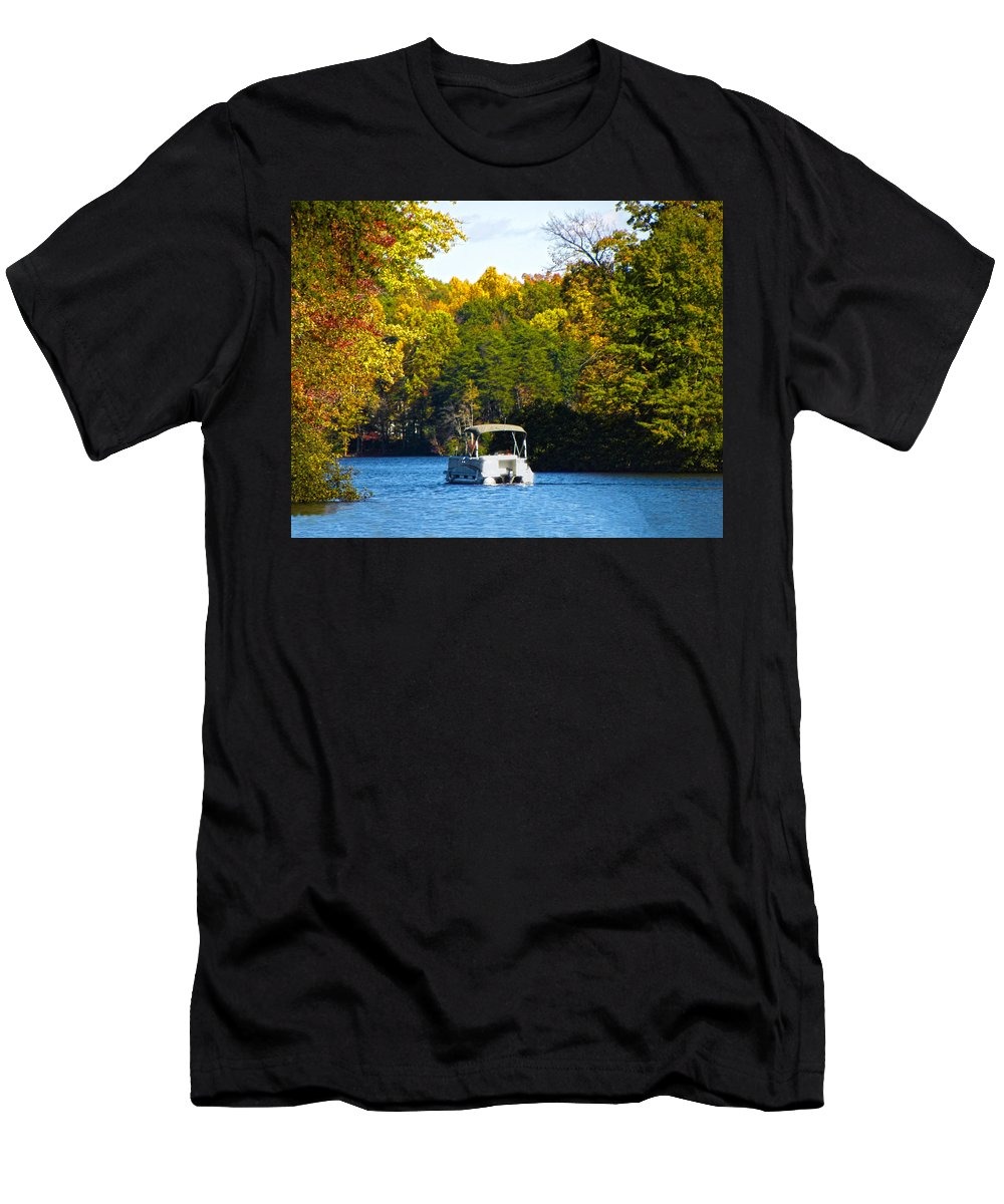Autumn Men's T-Shirt (Athletic Fit) featuring the photograph Scenic Autumn Viewing by Sandi OReilly