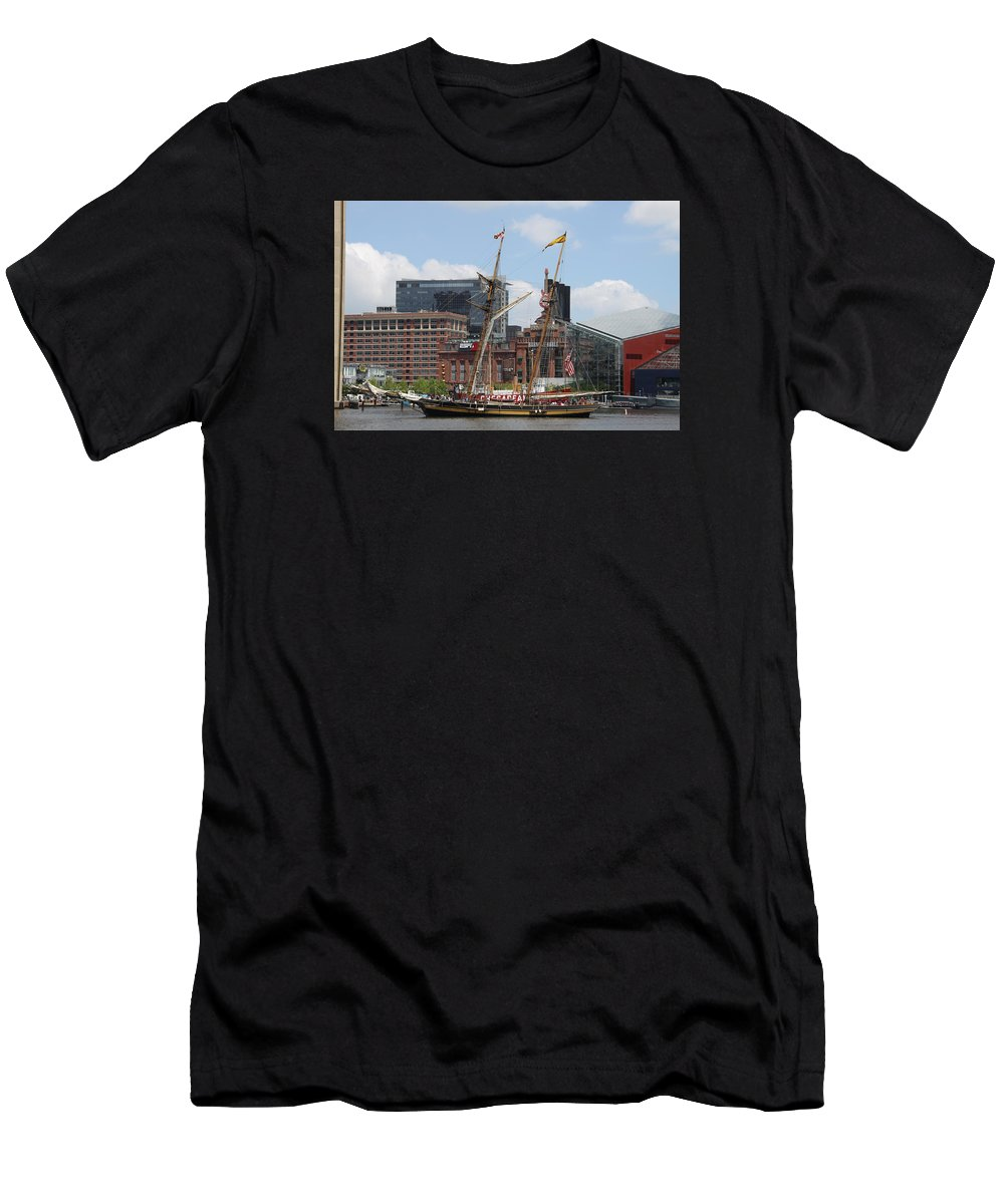 Harbor Men's T-Shirt (Athletic Fit) featuring the photograph Schooner Arriving At Baltimore Inner Harbor by Christiane Schulze Art And Photography