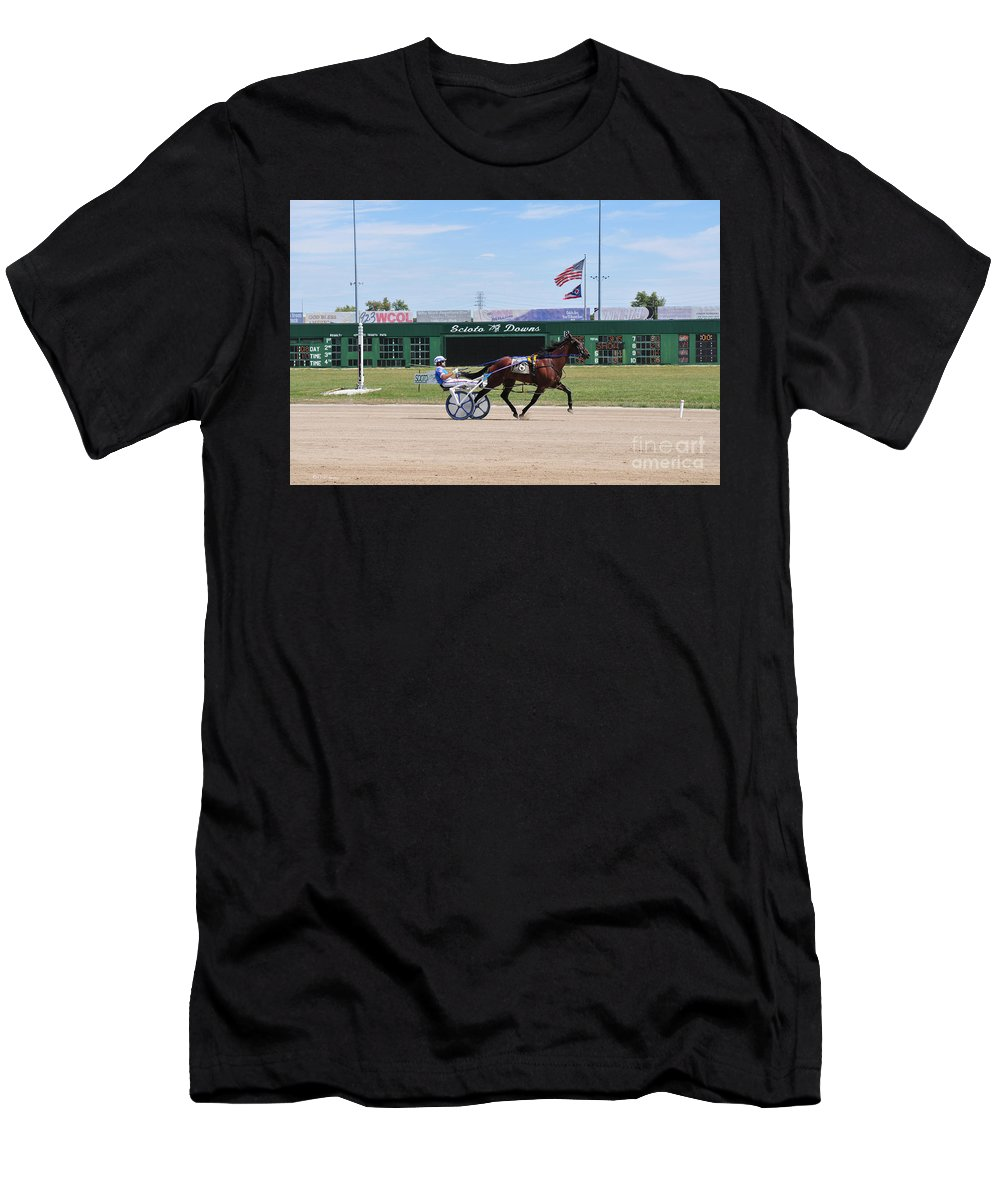 Harness Racing Men's T-Shirt (Athletic Fit) featuring the photograph D3w-206 Scioto Downs Photo by Ohio Stock Photography