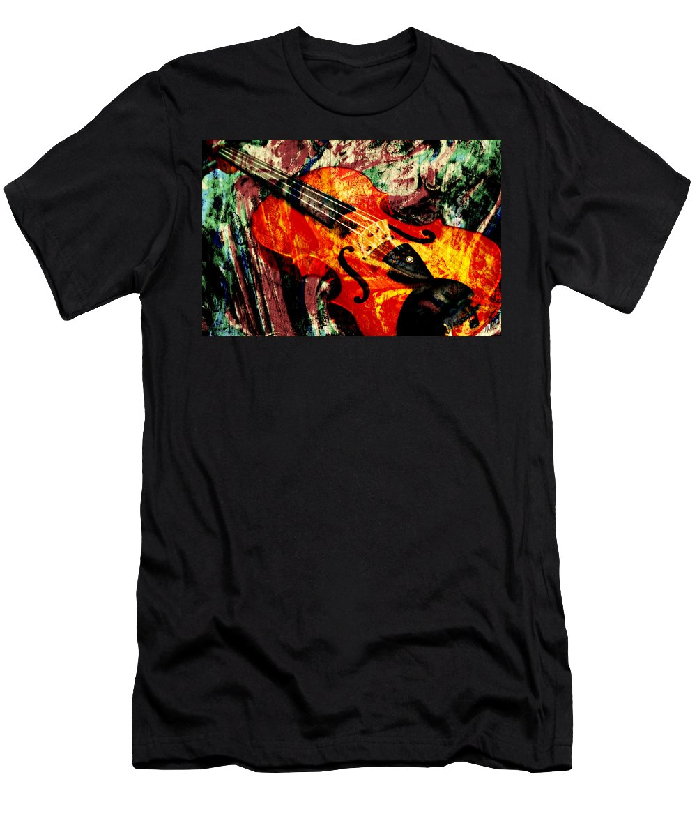 Violin Men's T-Shirt (Athletic Fit) featuring the mixed media Scribbled Fiddle by Ally White