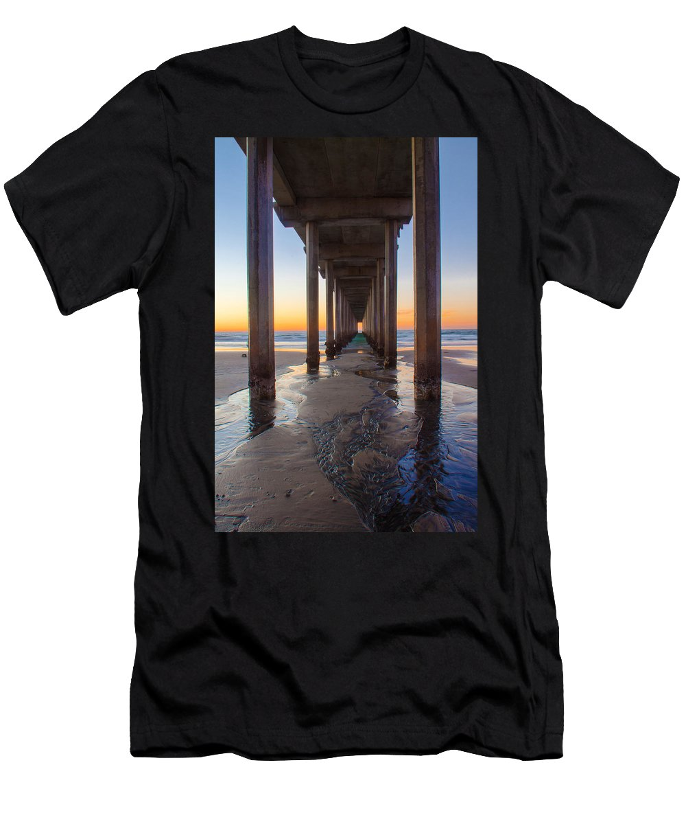 Pier Men's T-Shirt (Athletic Fit) featuring the photograph Scripps Pier #1 by Lauri Novak