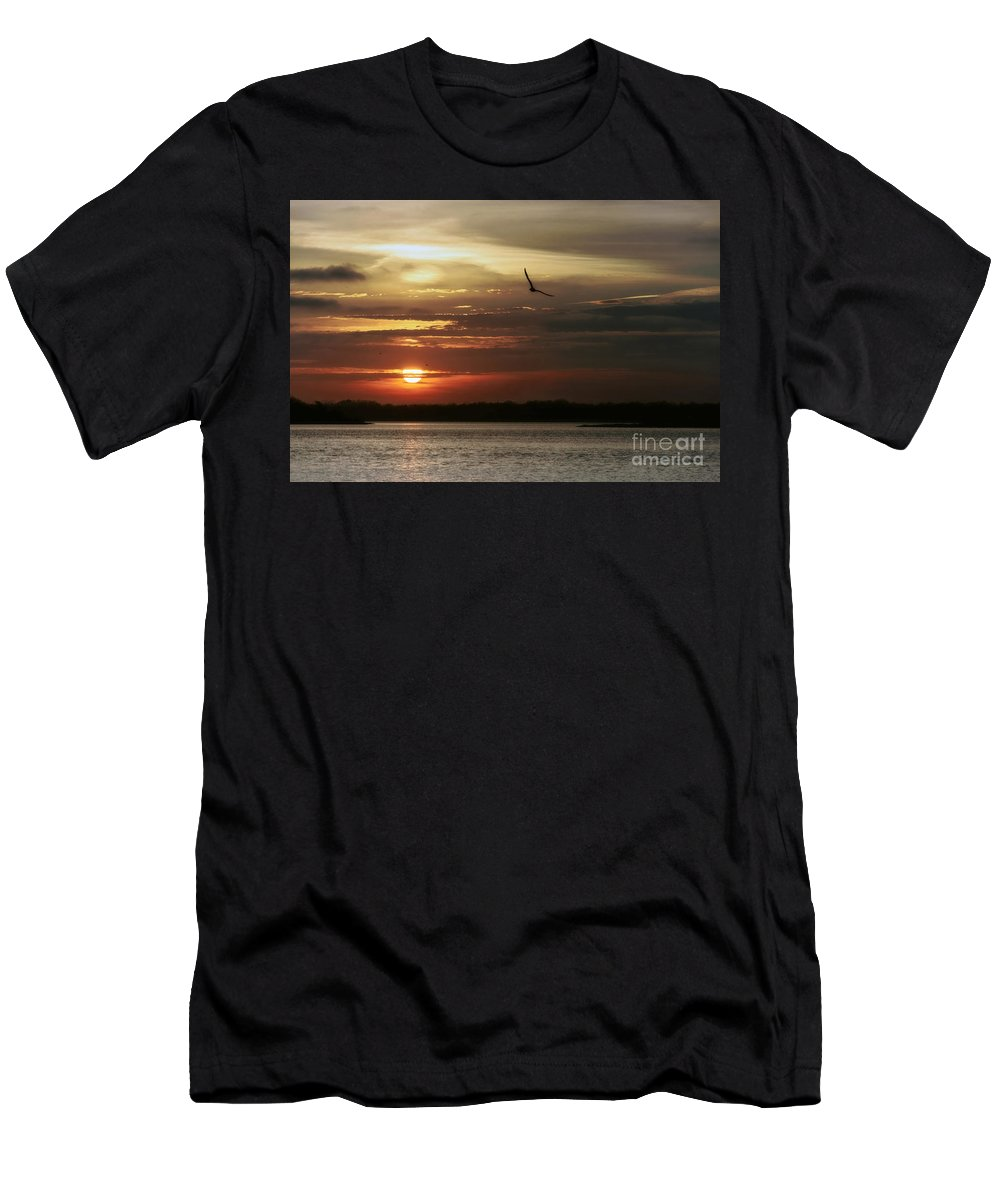 Sea Bright Men's T-Shirt (Athletic Fit) featuring the photograph Sea Bright Sunset by Debra Fedchin