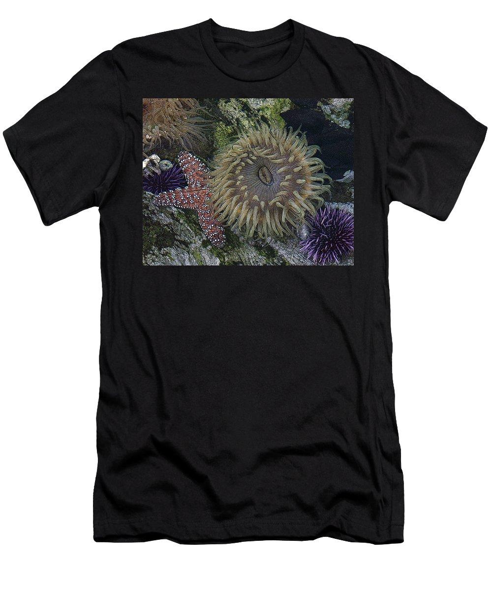 Sea Urchins Men's T-Shirt (Athletic Fit) featuring the digital art Sea Life by Ernie Echols