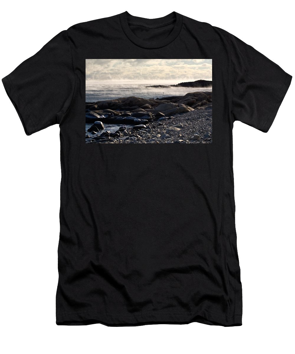 Landscape Men's T-Shirt (Athletic Fit) featuring the photograph Sea-smoke At Schoodic by Brent L Ander