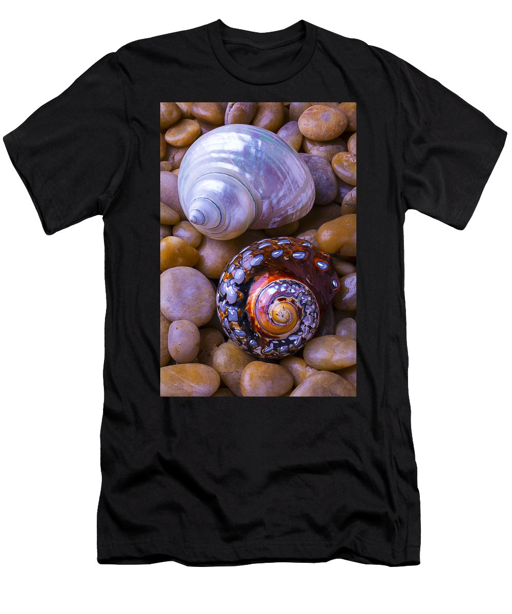 White Men's T-Shirt (Athletic Fit) featuring the photograph Sea Snail Shells by Garry Gay