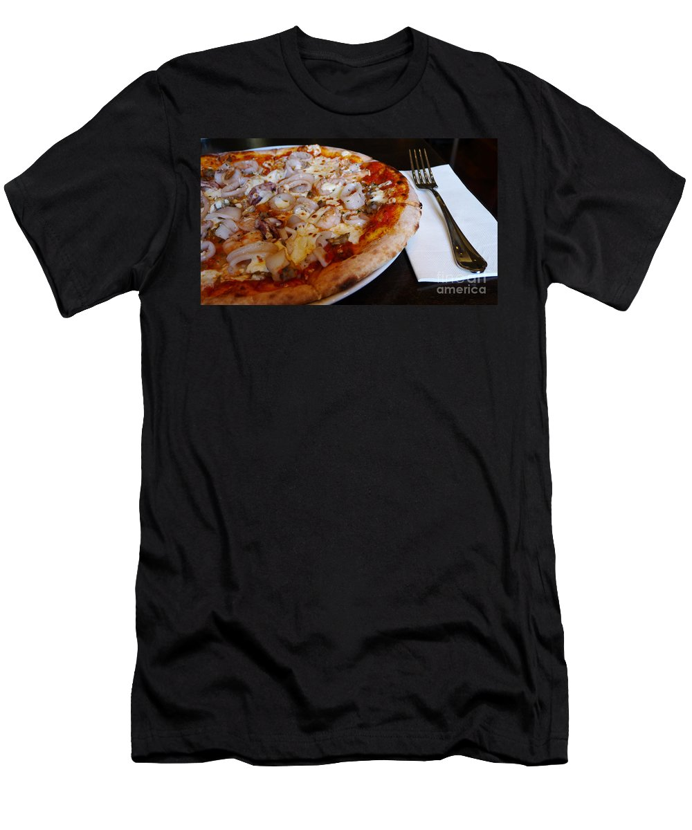 Seafood Pizza Men's T-Shirt (Athletic Fit) featuring the photograph Seafood Pizza by Nina Prommer