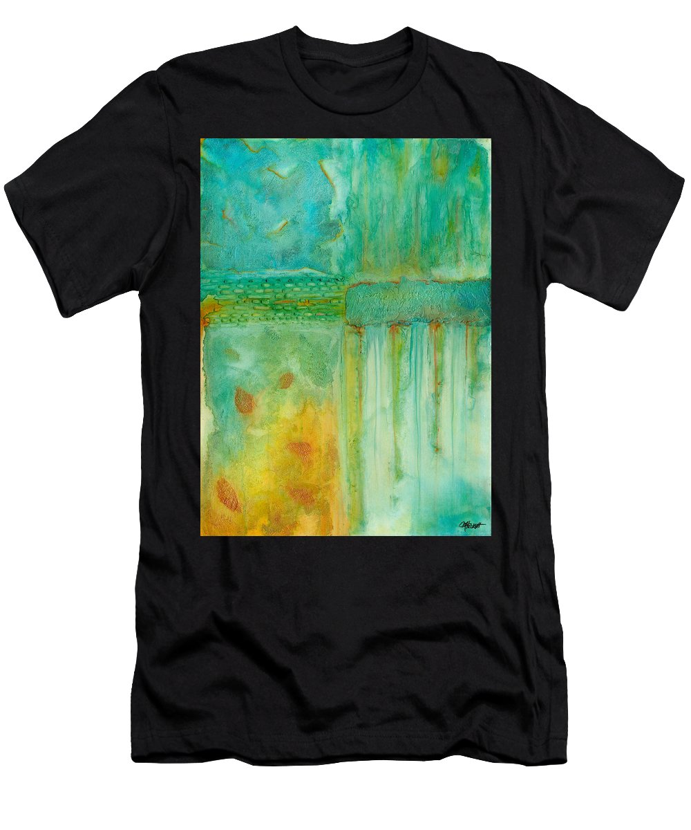 Abstract Men's T-Shirt (Athletic Fit) featuring the painting Seasons by Margarita Puckett
