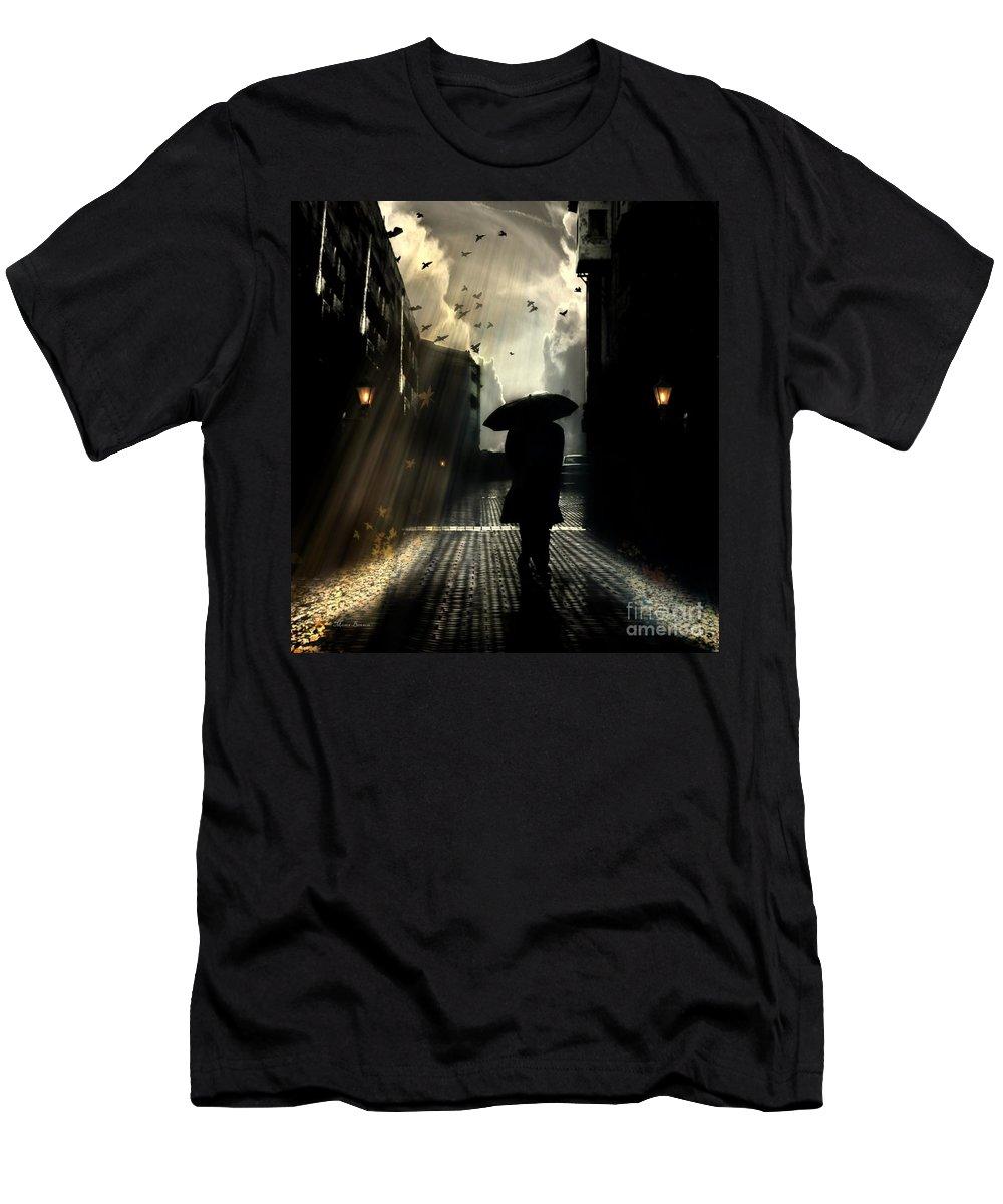 #seasons # Winter #autumn # One Umbrella  #fine Art # Digital Art #urban #lights #moses# Benson #design Pics #street #photography #birds #dark #sky #clouds #high Men's T-Shirt (Athletic Fit) featuring the digital art Seasons by Moses Benson
