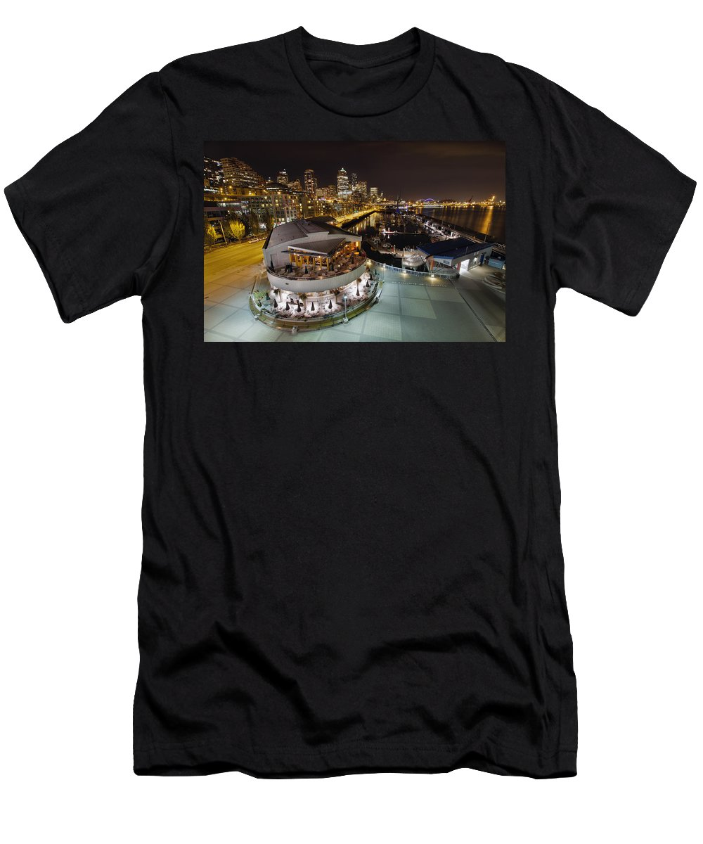 Seattle Men's T-Shirt (Athletic Fit) featuring the photograph Seattle City Skyline And Marina At Night by Jit Lim