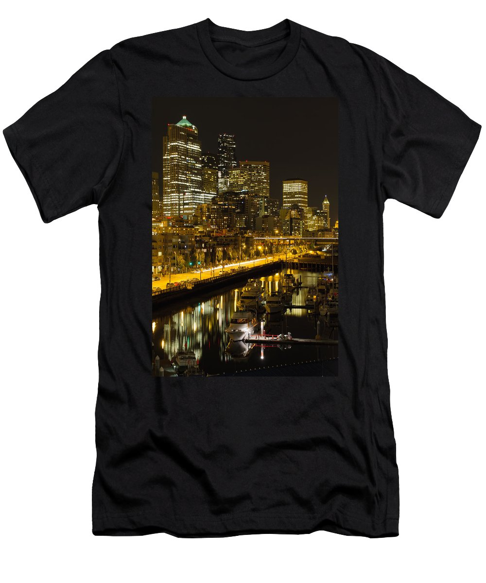 Seattle Men's T-Shirt (Athletic Fit) featuring the photograph Seattle Downtown Waterfront Skyline At Night by Jit Lim