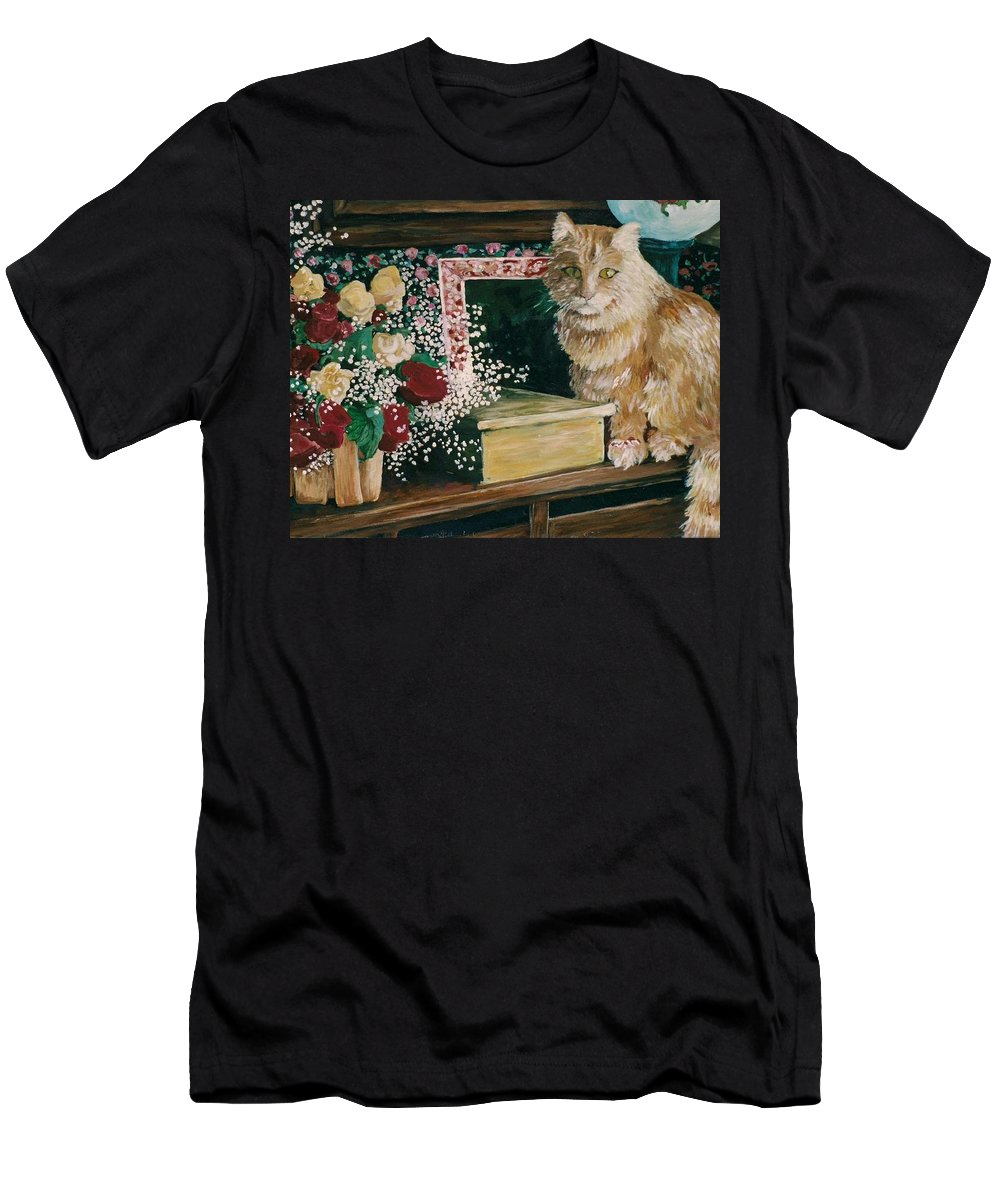Cat Men's T-Shirt (Athletic Fit) featuring the painting Sebestian And The Old Roses by Patty Fleckenstein