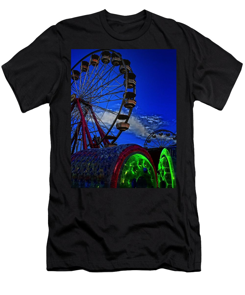 Ferris Wheel Men's T-Shirt (Athletic Fit) featuring the photograph See Ya Round by Robert McCubbin