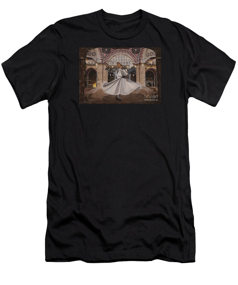 Selimiye Men's T-Shirt (Athletic Fit) featuring the painting Selimiye Dervish by Carol Bostan