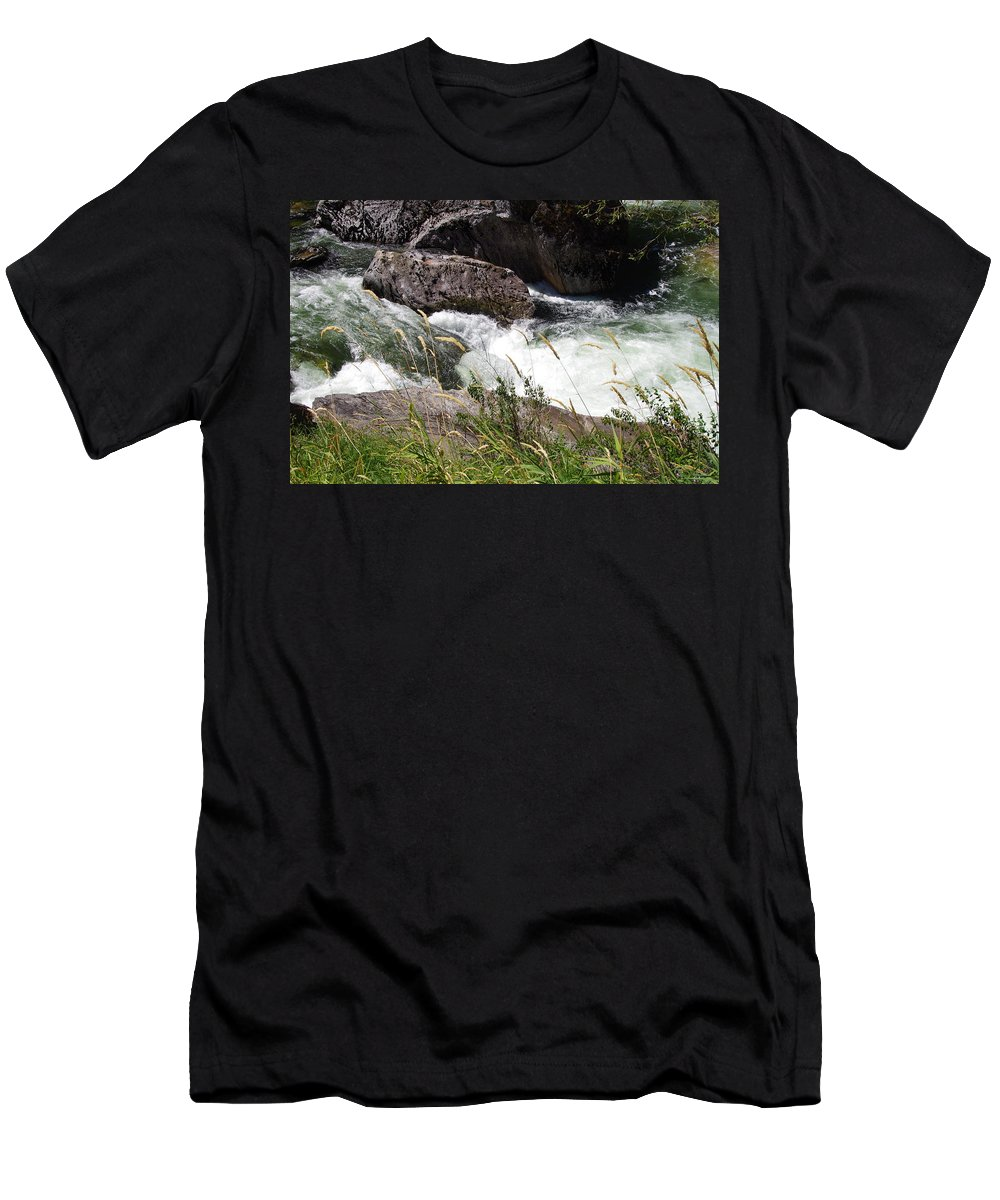 Water Falls Men's T-Shirt (Athletic Fit) featuring the photograph Selway Falls by Mike Wheeler