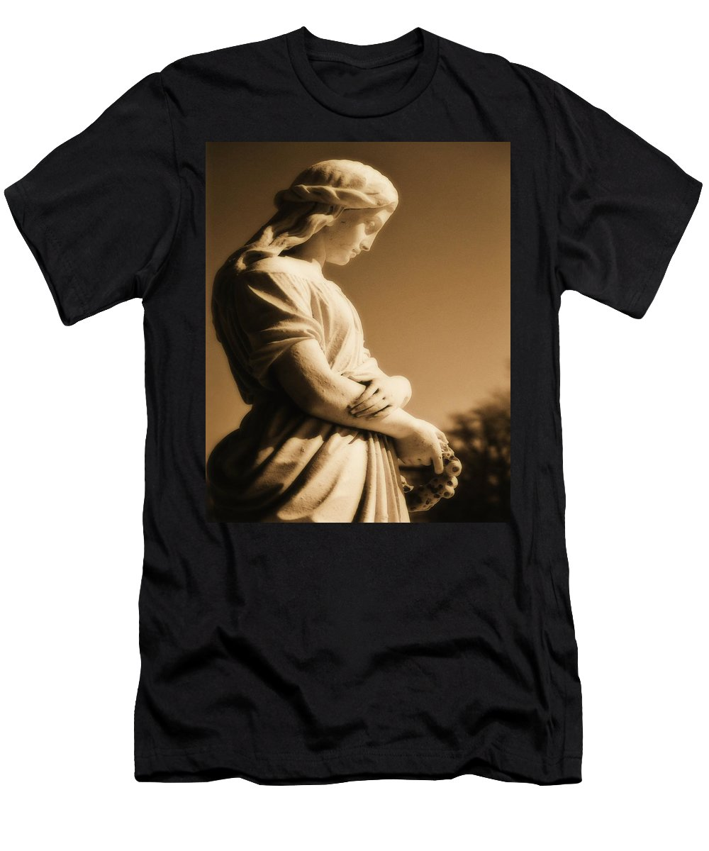 Brown Men's T-Shirt (Athletic Fit) featuring the photograph Sepia Angel Dream by Gothicrow Images