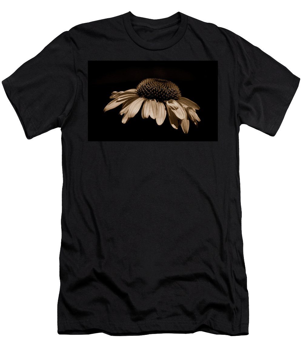 Daisy Men's T-Shirt (Athletic Fit) featuring the photograph Sepia Daisy by Lori Tambakis