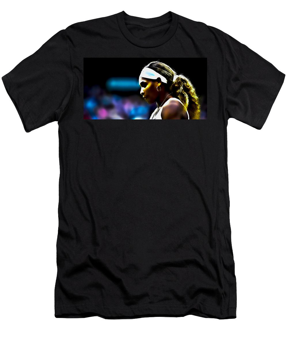Serena Williams Men's T-Shirt (Athletic Fit) featuring the digital art Serena Williams Focus by Brian Reaves