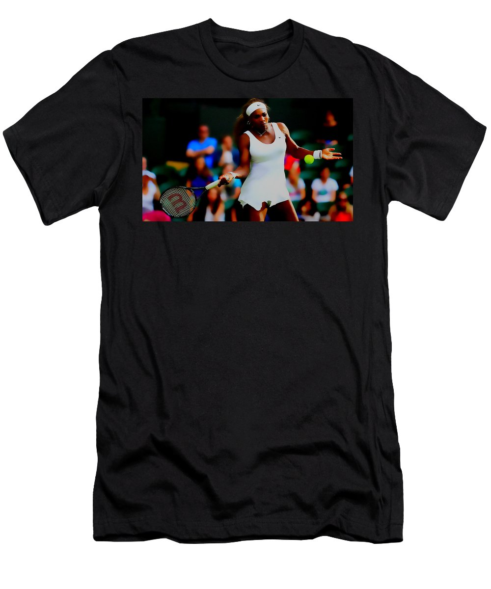Serena Williams Men's T-Shirt (Athletic Fit) featuring the digital art Serena Williams Making It Look Easy by Brian Reaves