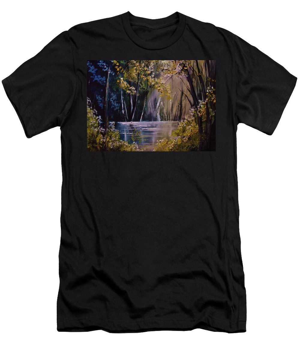 Landscape Men's T-Shirt (Athletic Fit) featuring the painting Serenity by Eugene Budden