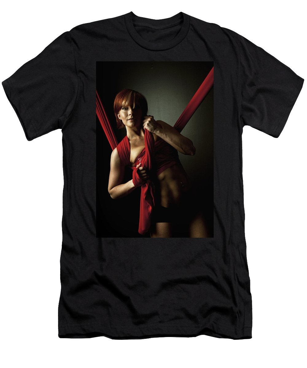 Silk Men's T-Shirt (Athletic Fit) featuring the photograph Series In Red Silk Knot by Monte Arnold