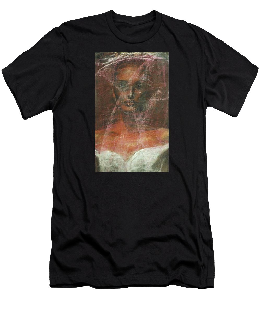 Portrait Art Men's T-Shirt (Athletic Fit) featuring the painting Serious Bride Mirage by Jarmo Korhonen aka Jarko
