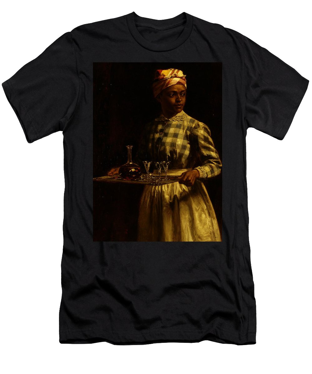 Serving Maid Men's T-Shirt (Athletic Fit) featuring the painting Serving Maid by Thomas Waterman Wood