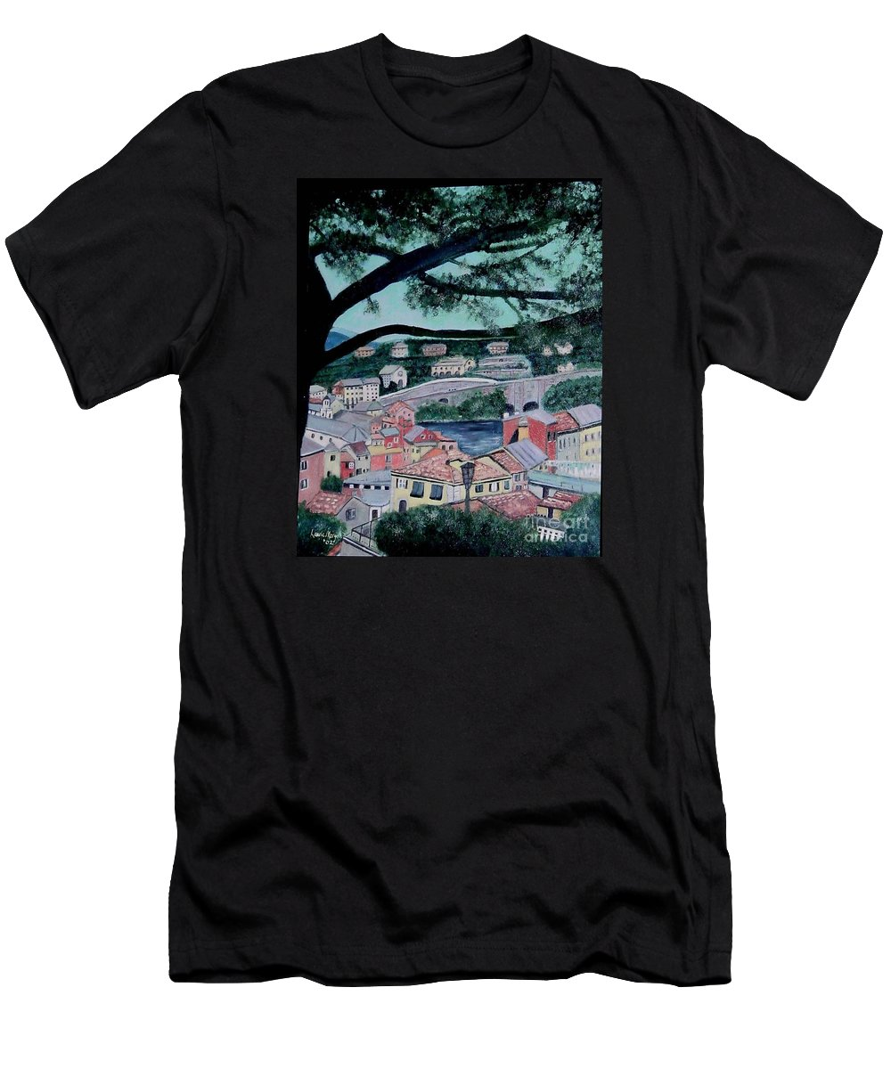 Italy Men's T-Shirt (Athletic Fit) featuring the painting Sestri Levante by Laurie Morgan