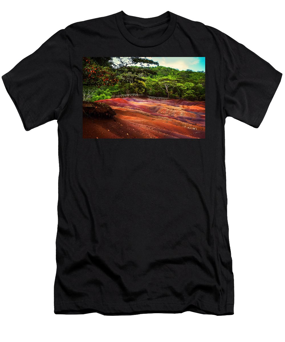 Mauritius Men's T-Shirt (Athletic Fit) featuring the photograph Seven Colored Earth In Chamarel 3. Mauritius by Jenny Rainbow