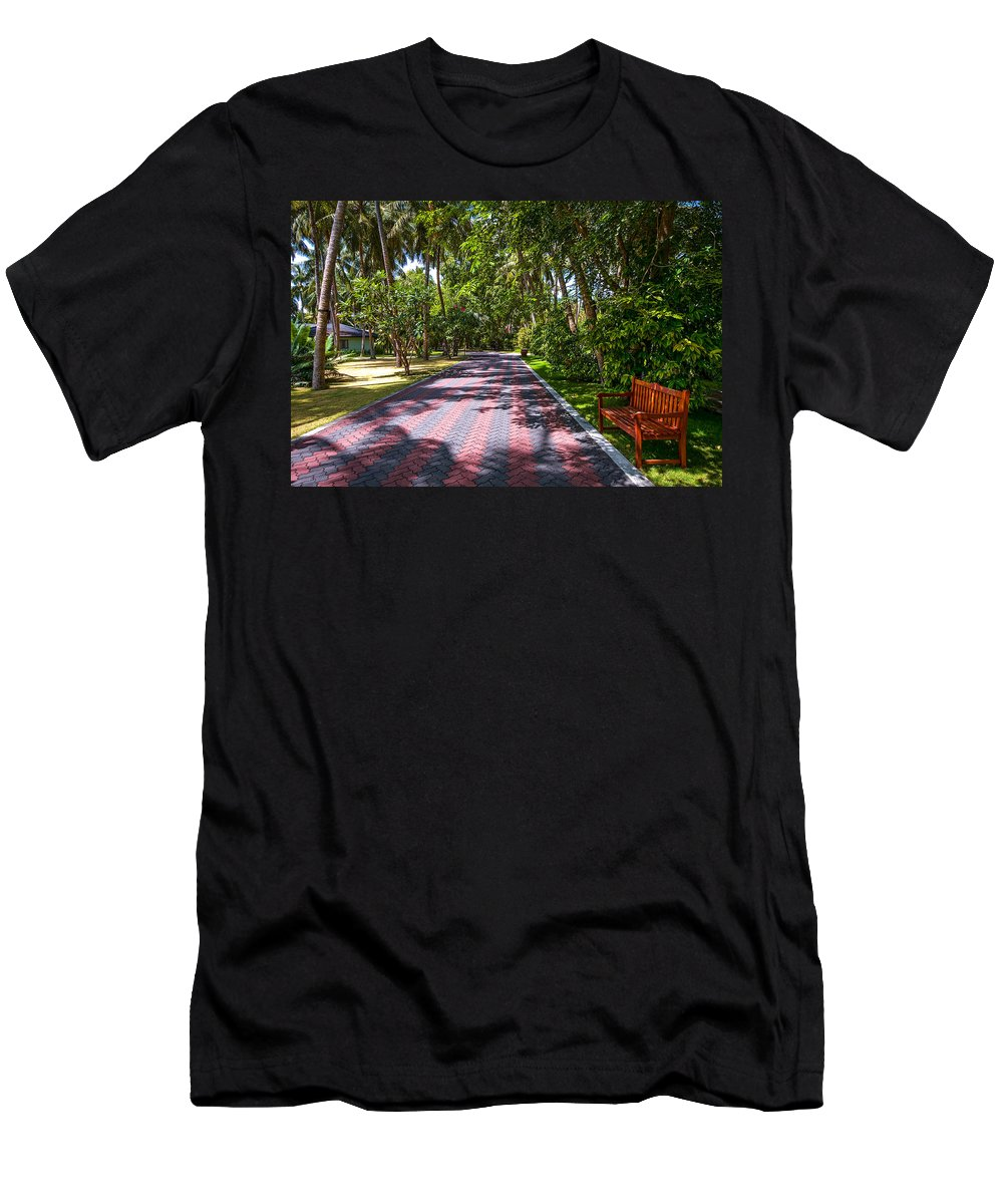 Maldives Men's T-Shirt (Athletic Fit) featuring the photograph Shadow Alley In Sun Island Resort. Maldives by Jenny Rainbow