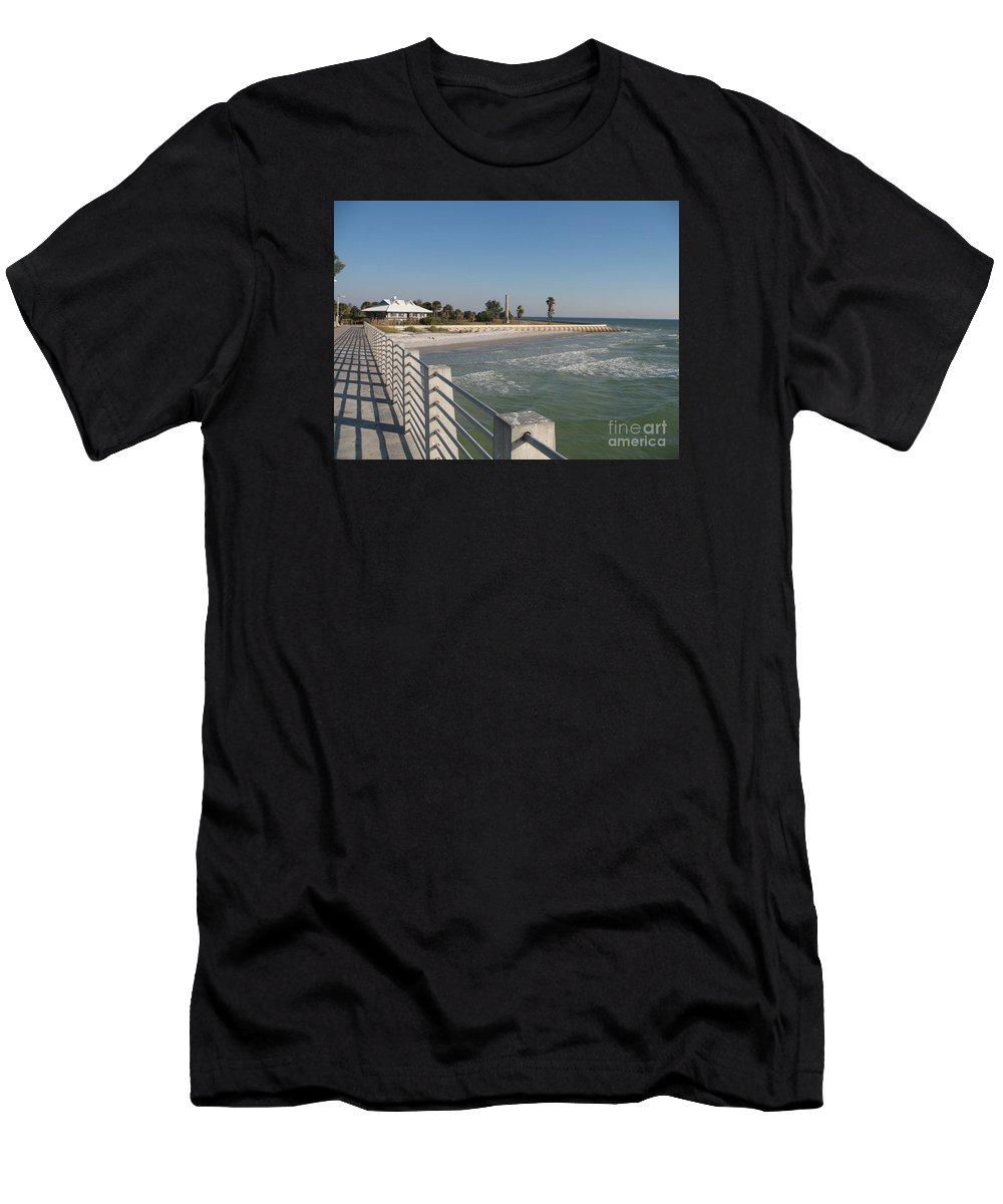 Pier Men's T-Shirt (Athletic Fit) featuring the photograph Shadow On The Pier by Christiane Schulze Art And Photography
