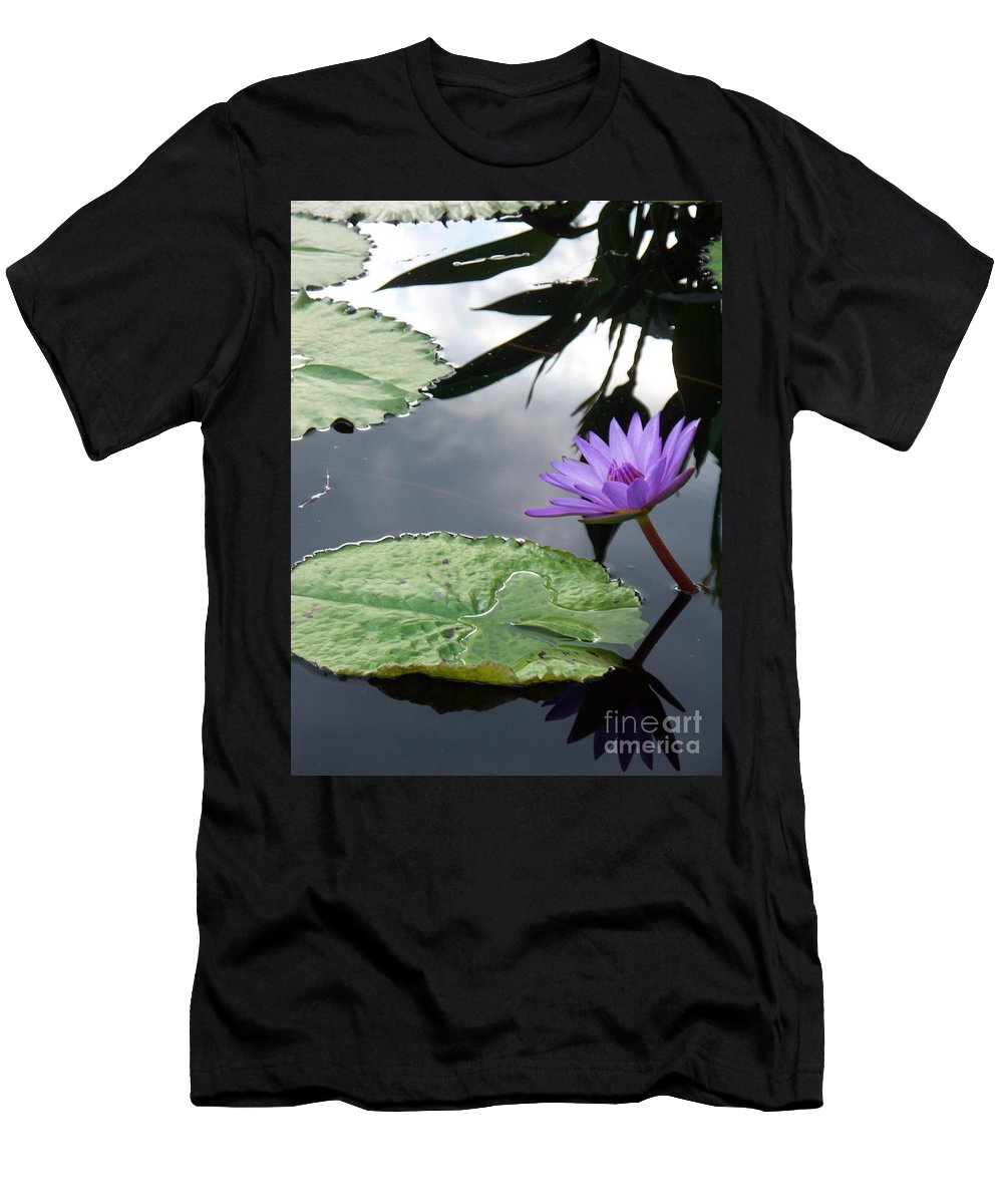 Water Lilies Men's T-Shirt (Athletic Fit) featuring the photograph Shadows On A Lily Pond by Eric Schiabor