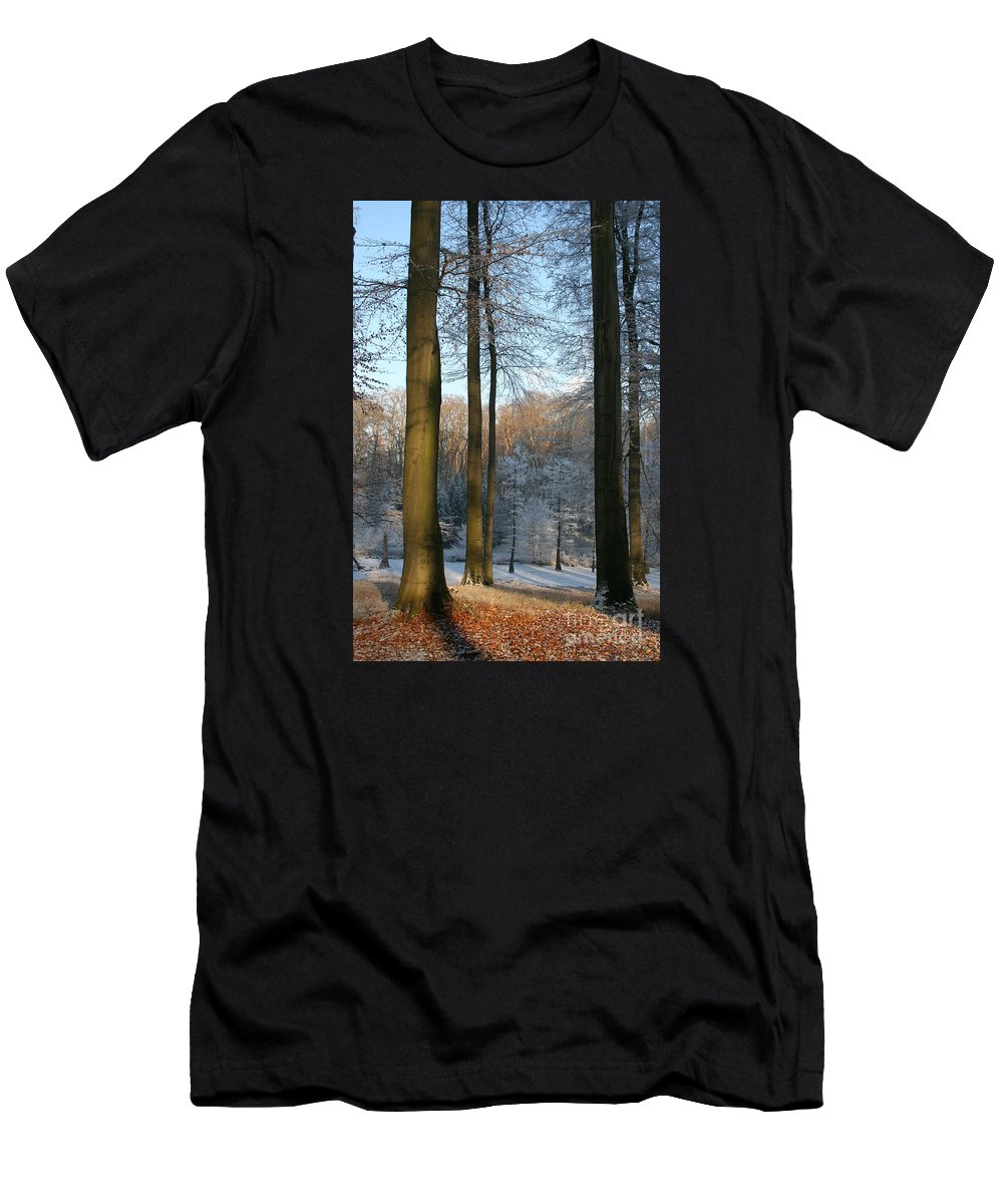 Sunlight Men's T-Shirt (Athletic Fit) featuring the photograph Light And Shadows In Wintertime by Christiane Schulze Art And Photography